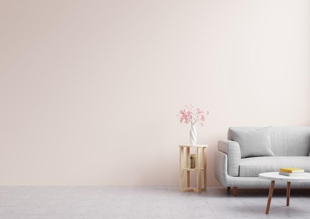 Salon z pustą różową ścianą, ozdobiony kwiatami i sofą. renderowanie 3d.