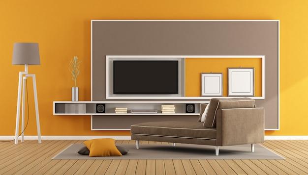 Salon z szafką pod tv