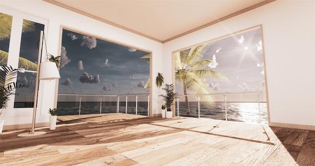 Salon z widokiem na morze w nowoczesnym domu na plaży latem