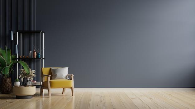 Salon z żółtym fotelem na pustym ciemnoniebieskim tle ściany, renderowanie 3d