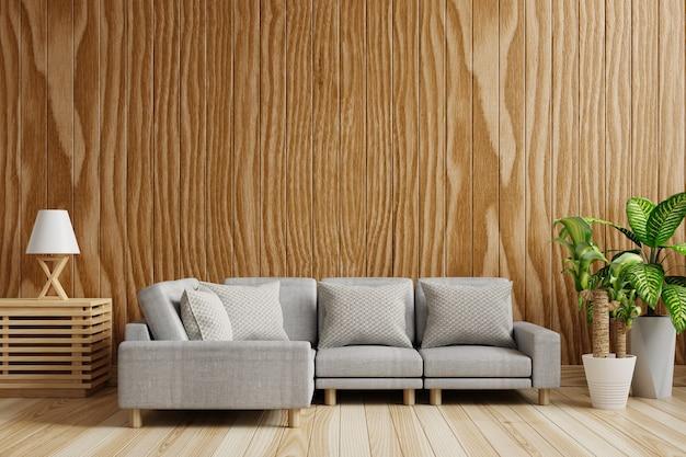 Salon ze ścianą z ciemnego drewna, pusty, ozdobiony sofami. renderowanie 3d.