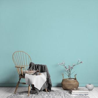 Salon ze stylowym drewnianym krzesłem, styl skandynawski, wystrój domu, renderowanie 3d