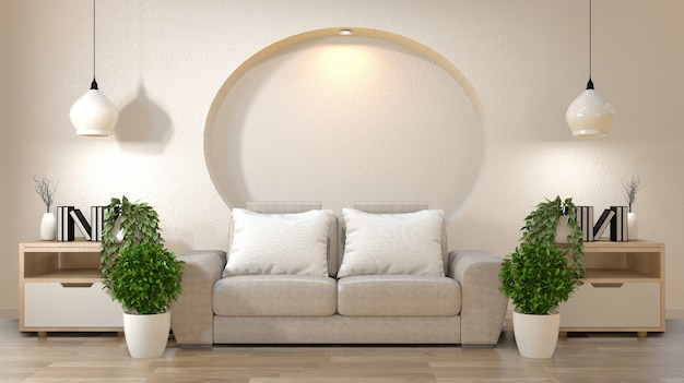Salon zen dekoracji wnętrz na półce ściany makiety z sofą i poduszkami na białym tle.