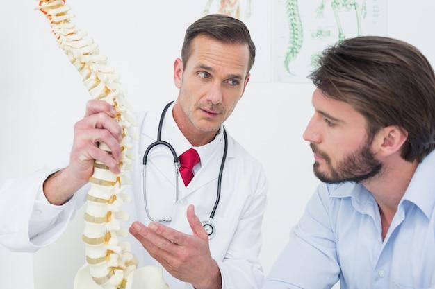 Samiec doktorski wyjaśniający kręgosłup pacjent
