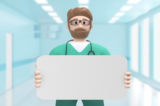 Samiec lekarka w medycznym wnętrzu szpitala trzyma pustą deskę