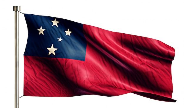 Samoa national flag pojedyncze 3d białe tło