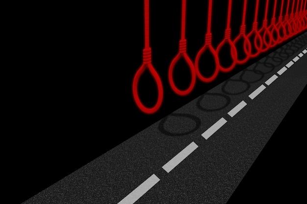 Samobójstwo arkana wiesza nad betonową drogą, niebezpieczny przyszłościowy sposobu pojęcie.