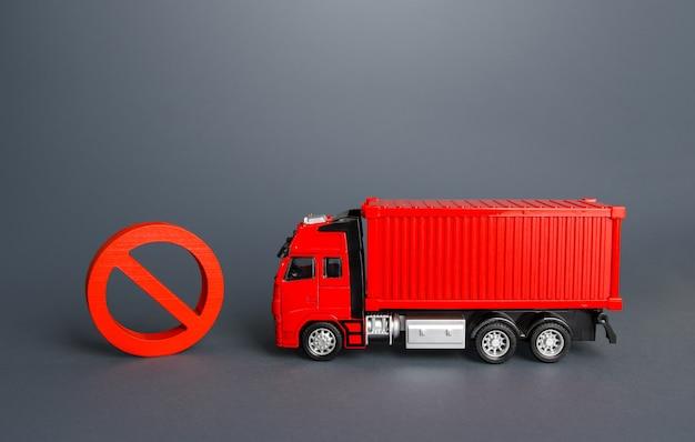 Samochód ciężarowy i znak zakazu nie ograniczenia w imporcie i eksporcie zakaz przemieszczania towarów