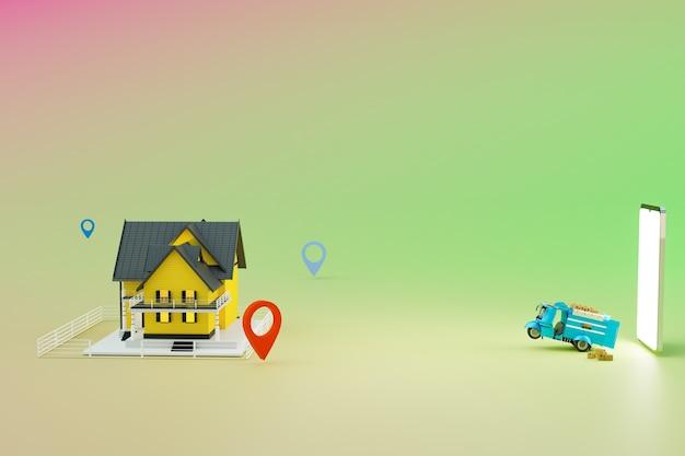 Samochód dostawczy i dron dostawczy zaczynające się od dostawy renderowanie ilustracji 3d