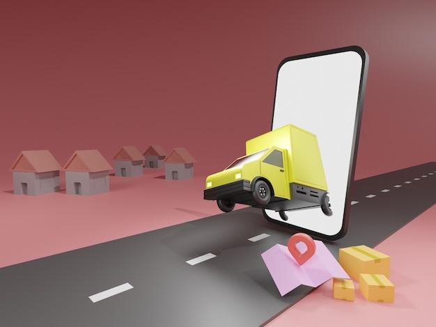 Samochód dostawczy i telefon komórkowy z mapą