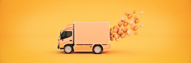 Samochód dostawczy z balonami renderowania 3d
