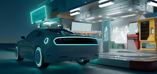 Samochód elektryczny i futurystyczna stacja ładująca z neonem oświetlonym w ciemną noc. koncepcja transportu innowacji w motoryzacji elektrycznej. fotorealistyczne renderowanie 3d.
