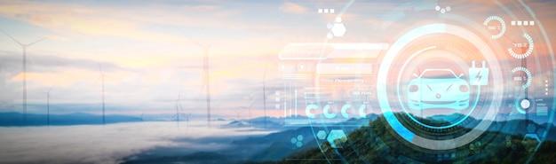 Samochód elektryczny w koncepcji zielonej zrównoważonej energii wykorzystywanej przez stację ładowania ev wyprodukowaną ze źródeł odnawialnych do zasilania stacji ładującej w celu zmniejszenia emisji co2.