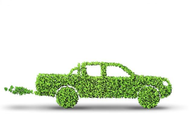Samochód elektryczny w zielonym otoczeniu