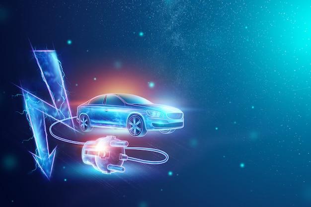 Samochód elektryczny z drutem ładującym, hologramem, znakiem elektryczności.