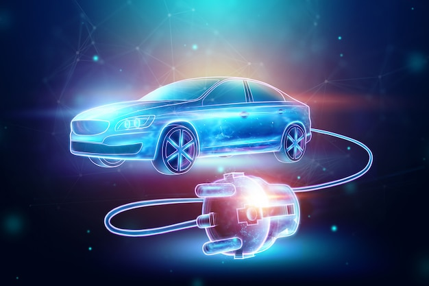 Samochód elektryczny z przewodem ładującym, hologram.