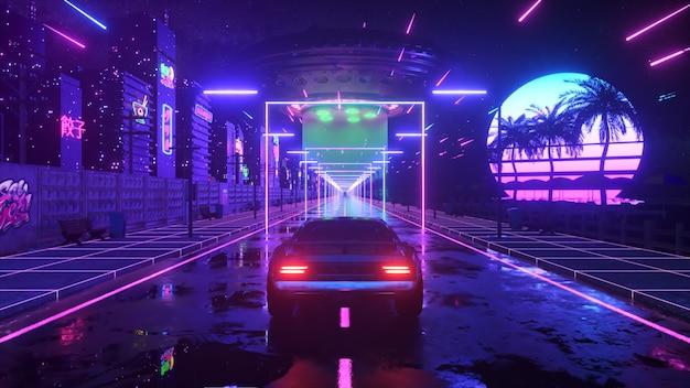 Samochód i miasto w neonowym stylu. 80s retro fala tło ilustracja 3d. retro futurystyczny przejazd samochodem przez neonowe miasto.
