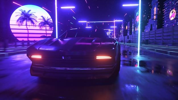 Samochód i miasto w neonowym stylu cyberpunk. lat 80-tych retrowave tło ilustracja 3d. retro futurystyczny przejazd samochodem przez neonowe miasto.
