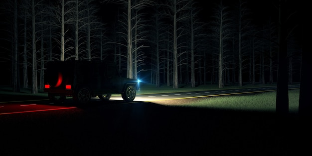 Samochód jedzie nocą po leśnej drodze z włączonymi światłami doświetlającymi ścieżkę