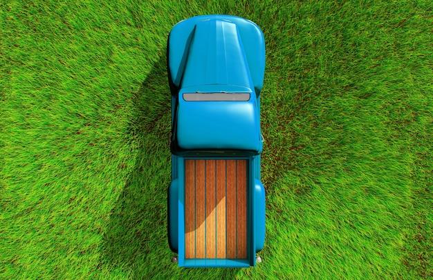 Samochód na trawie widok z góry, renderowanie 3d