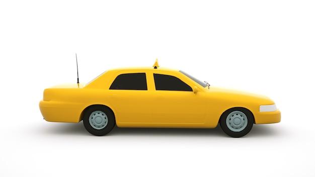 Samochód osobowy żółty, ilustracja 3d.