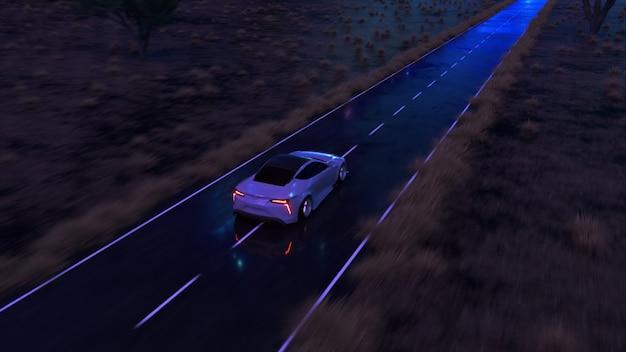 Samochód pędzi z dużą prędkością asfaltową drogą wzdłuż pustyni w bajeczny zachód słońca z magicznym niebieskim odcieniem. ilustracja 3d