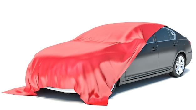 Samochód pokryty tkaniną jako prezent