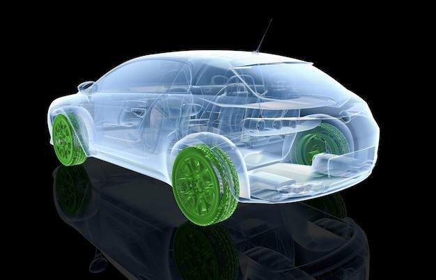 Samochód rentgenowski z zielonymi kołami