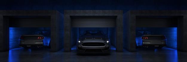 Samochód sportowy w garażu z otwartą rolowaną bramą renderowanie 3d