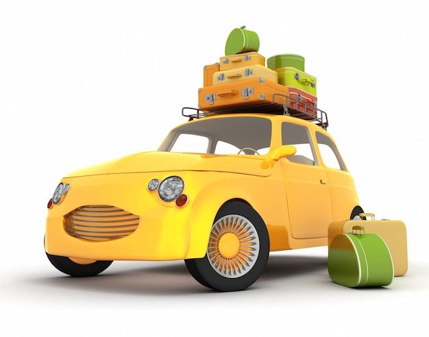 Samochód z bagażem na bagażniku dachowym w stylu retro