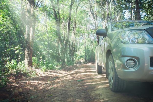 Samochód z dirt road wiecem i natury tłem