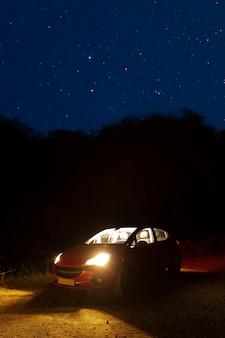 Samochód z gwiaździstym nocnym niebem
