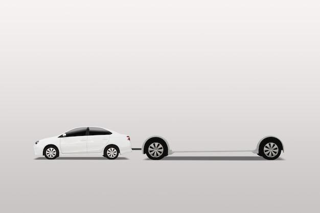 Samochód z mobilnym billboardem. reklama zewnętrzna, baner. na białym tle.