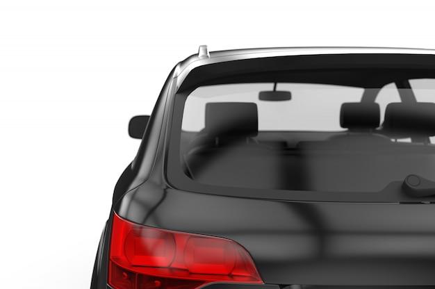 Samochód z tylną szybą, makieta, ilustracja 3d
