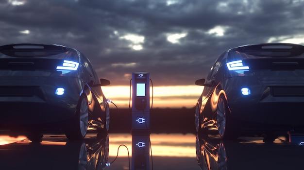 Samochody elektryczne ładowane na stacji ładowania charging