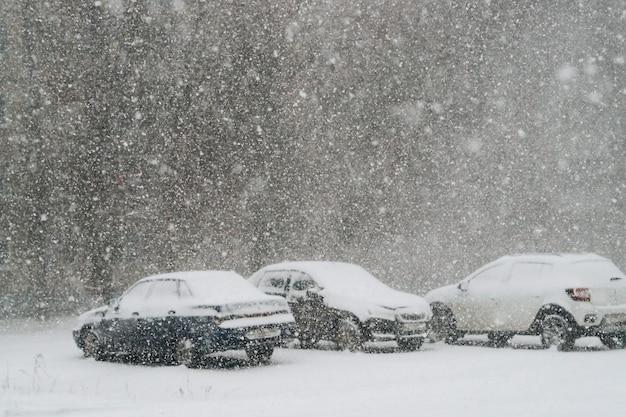 Samochody na ulicy pokryte świeżym śniegiem