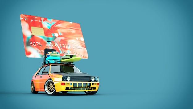Samochody z kartami kredytowymi są na dachu. renderowania 3d i ilustracji.