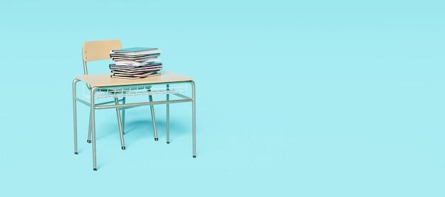 Samodzielne biurko szkolne z książkami na górze