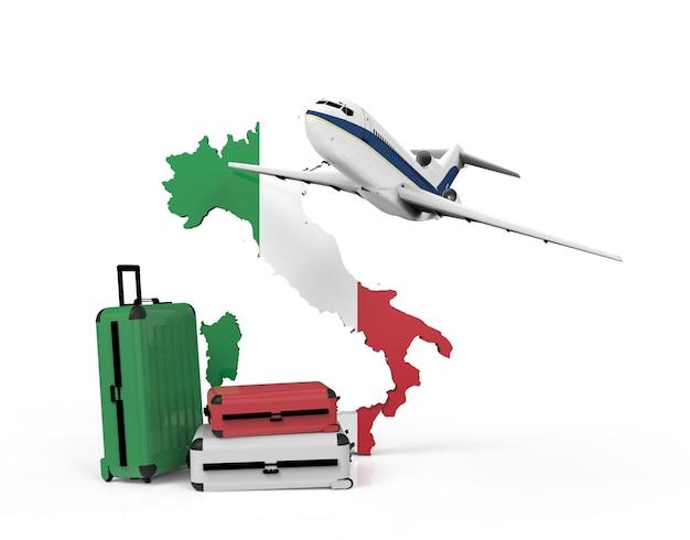 Samolot i walizki na mapie włoch
