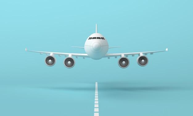 Samolot lecący na pasie startowym na niebieskim tle. minimalna koncepcja pomysłu. renderowanie 3d