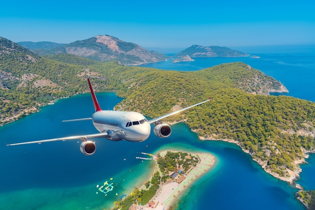 Samolot leci nad lasem i morzem
