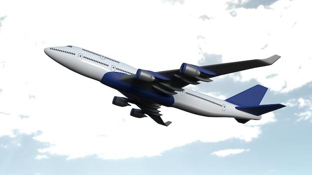 Samolot na białym tle na chmurnym niebie