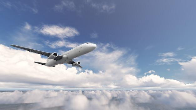 Samolot nad chmurą błękitne niebo