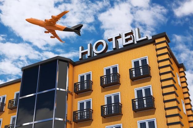 Samolot pasażerski jet latać nad nowoczesnym pomarańczowym budynku hotelu na tle błękitnego nieba. renderowanie 3d