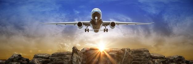 Samolot startujący o zachodzie słońca renderowania 3d