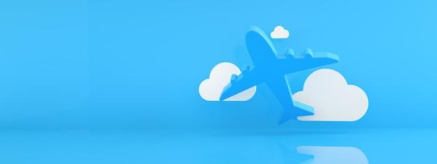 Samolot z chmurami na niebieskim tle, koncepcja podróży lotniczych, renderowanie 3d, makieta panoramiczna