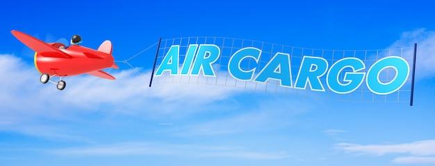 Samoloty kreskówka z banerem ładunku lotniczego. renderowanie 3d
