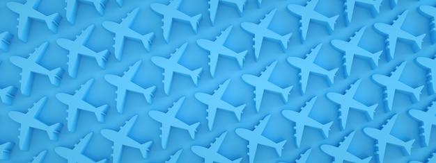 Samoloty wzór na niebieskim tle, obraz panoramiczny