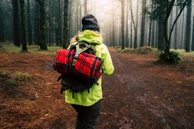 Samotna kobieta wchodzi do mglistego lasu