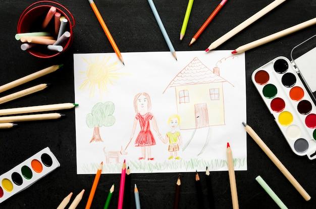 Samotna mama rysunek na czarnym tle